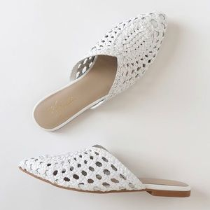 Charmed White Woven Leather Pointed-Toe Flats